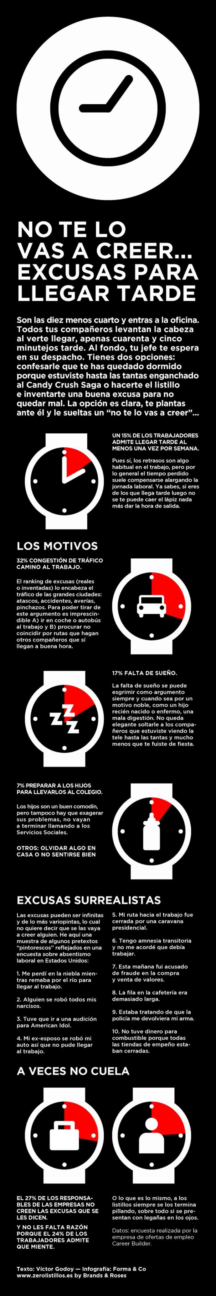 Excusas para llegar tarde al trabajo #infografía #infographic