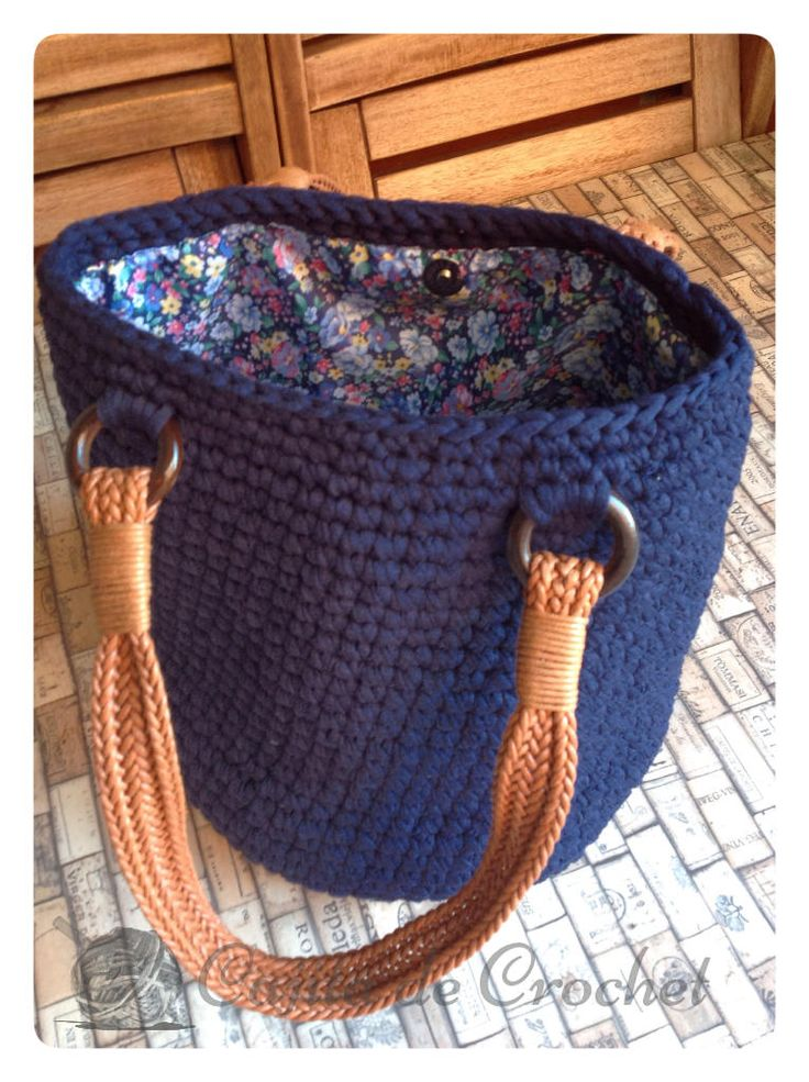 "Trapillo bag type ""sack"" with cajitadecrochet pattern"
