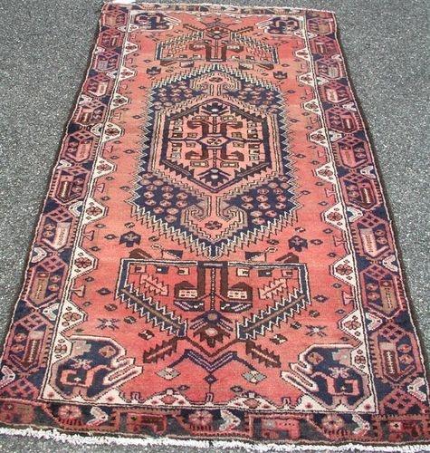 S Antique Persian Heriz Geometric Tribal Wiss Oriental Area Rug Runner 3 6 X 7