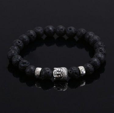 Buddha Charm Black Lava Bracelet