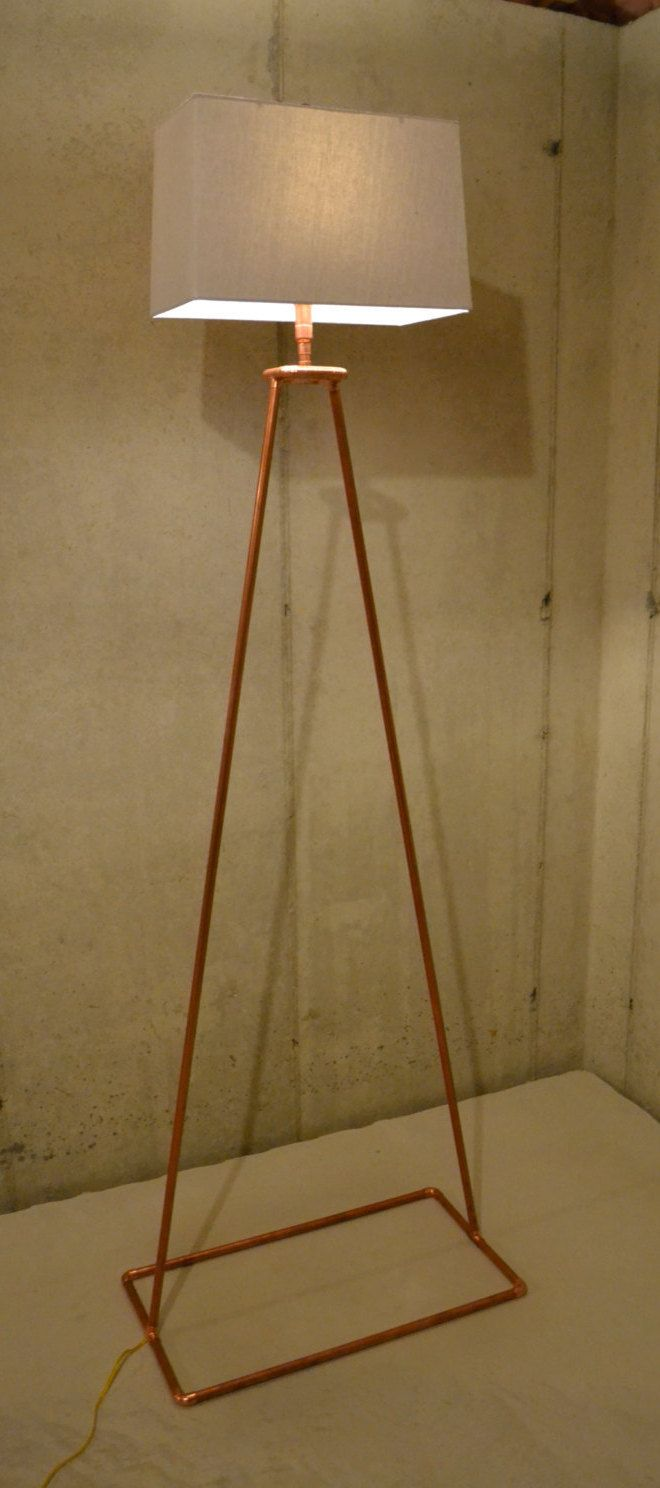 Copper Tube Floor Lamp Angular Delight by AtDCustomCopperLamps on Etsy