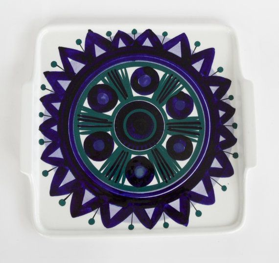 Extremely rare handpainted Arabia of Finland tray from the 1960's designed by Anja Juurikkala