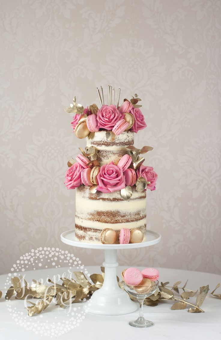 Stunning gold and pink themed naked cake by Juniper Cakery