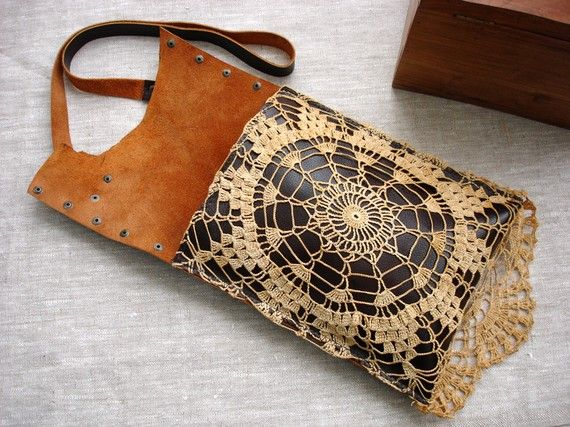 Boho Leather Festival Bag with Crochet Lace от UrbanHeirlooms