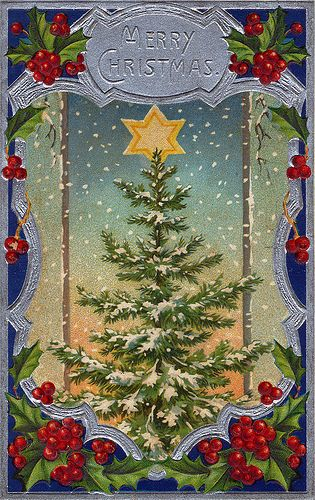 Christmas Tree Postcard 1911 - for More> https://www.pinterest.com/jodyclaus1/vintage-christmas-scenes/