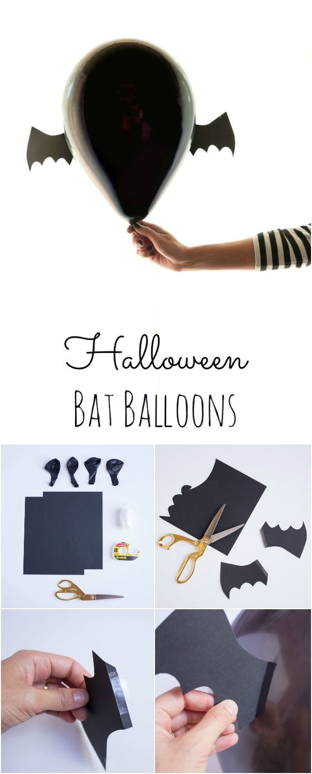 Transform black balloons into Halloween bats in minutes for the perfect party decor!
