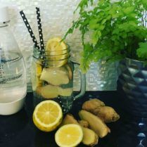 With a change of season, you may notice a few sniffles.  As a natural healthy alternative to help me get through, I like to make a Lemon, Honey and Ginger Sparkling water.