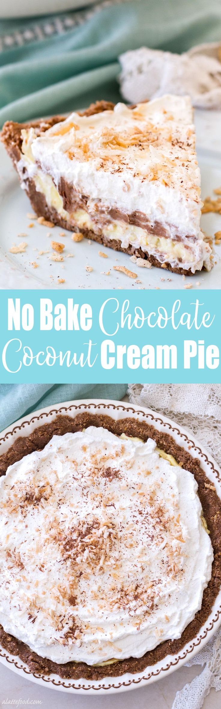 This easy, no-bake chocolate coconut cream pie recipe is the perfect summer dessert! Whipped cream, chocolate cream,and coconut cream are layered on top of a Keebler cookie crust! It's glorious.
