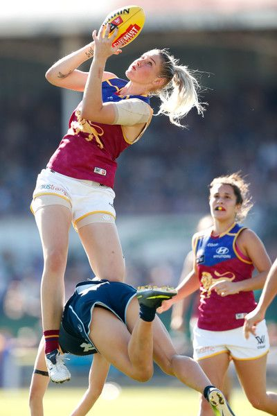 Tayla Harris of the Lions marks the ball during the 2017 AFLW Round 07 match between the Carlton Blues and the Brisbane Lions at Ikon Park on March 19, 2017 in Melbourne, Australia.
