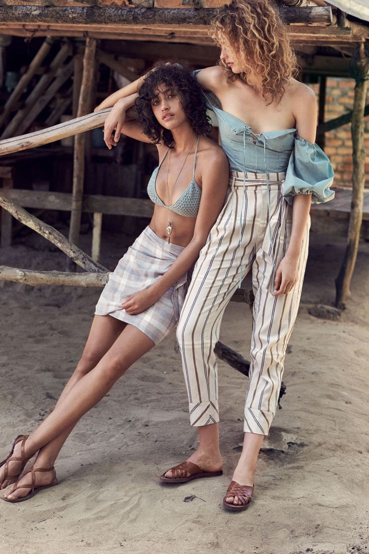 Crochet bikini top, Knot checked skirt, Leather straps sandals and Striped linen-blend trousers