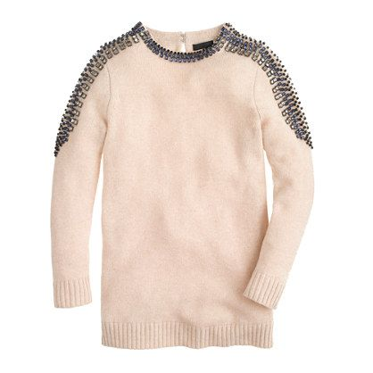 J.Crew - Collection cashmere jeweled-shoulder sweater