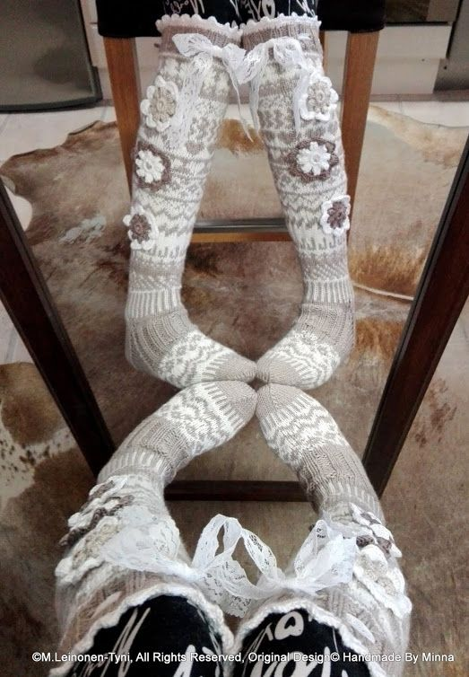 Áhhku - Somat Kukkasukat.  Beautiful knitted socks, with flowers and lace. Of course, My Own Design :)   Original Design© Handmade By Minna https://www.facebook.com/Handmade-By-Minna-918765948170281/?ref=hl