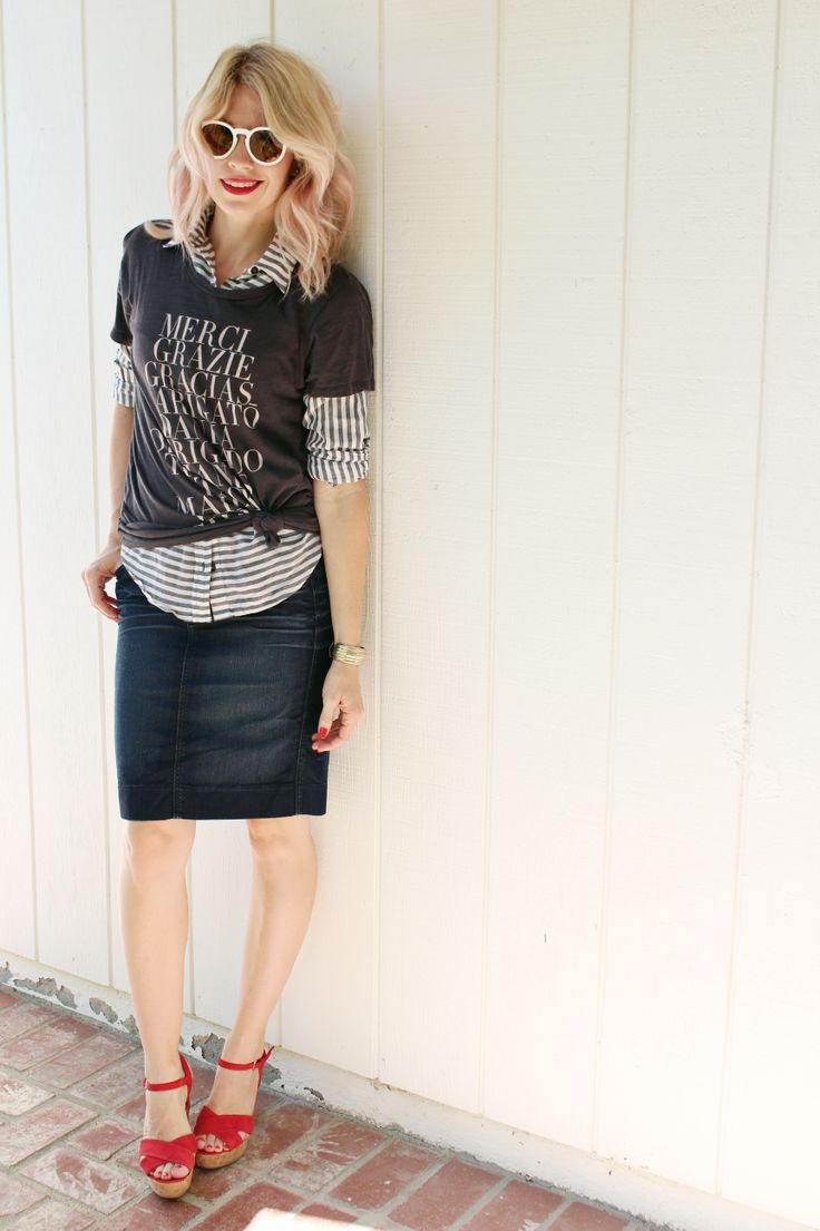 Fall is all about layering! Pair a #Sevenly tee with a button up and cute skirt for a great weekend outfit!