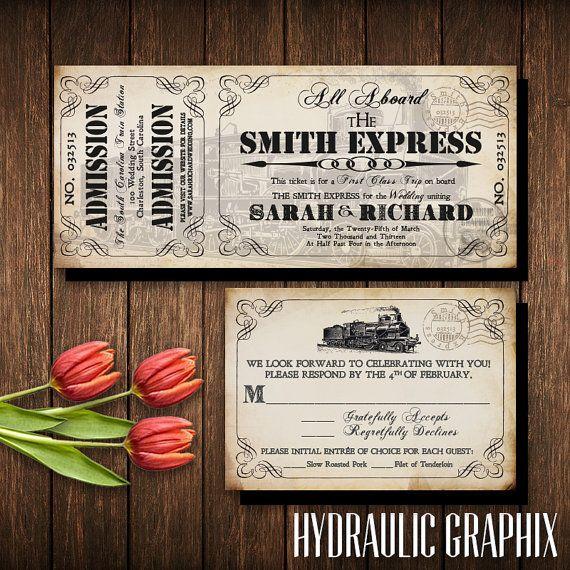 Train Ticket Invitation Set, Invitation Printable for Steampunk Wedding at Train Station, Industrial Wedding, Aged Vintage Ticket Invite