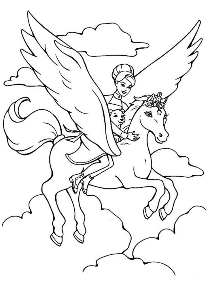 barbie coloring pages print - Coloring Pages Unicorn Wings