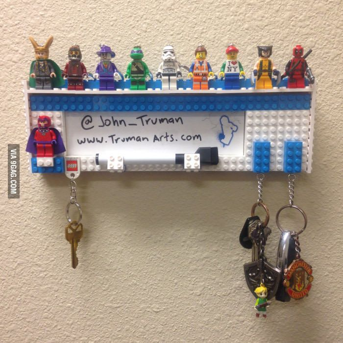 I made this LEGO key holder for my office!