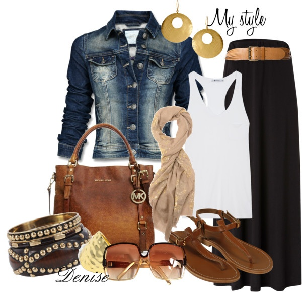 """love the grey and tan mix (""""Maxi Skirt"""" by deniselanders on Polyvore)"""