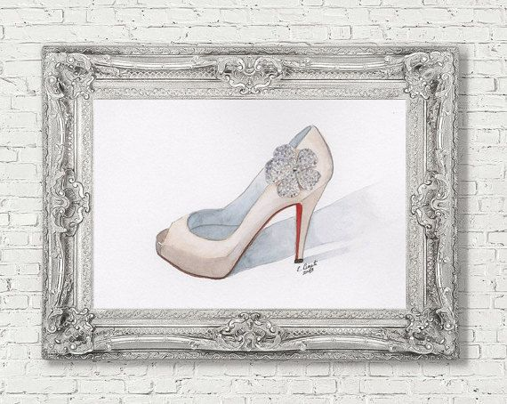 Christian Louboutin Wedding Shoe Red Wedding by WatercolorsbyLiz
