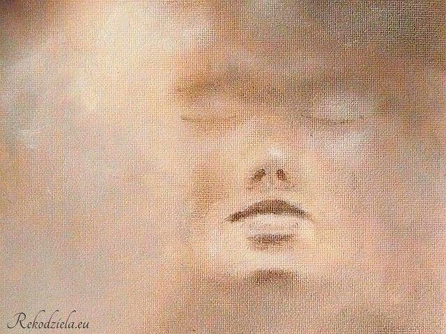 'Cisza' 'Silence' Obraz na kartonie, akryl. #kobieta #twarz #delikatnosc Rekodziela.eu
