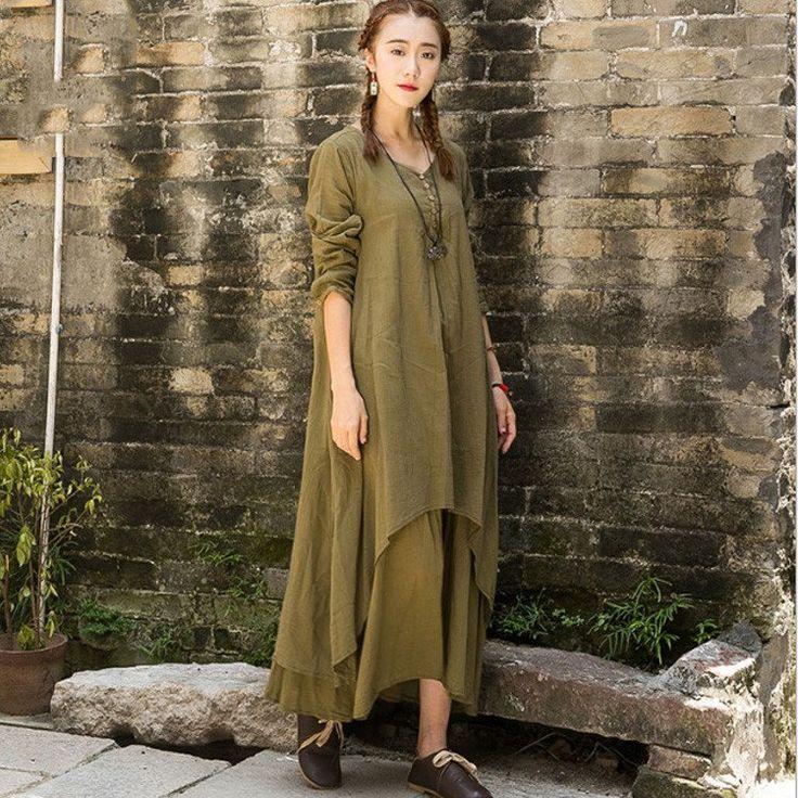 Women's long sleeve irregular loose cotton linen dress