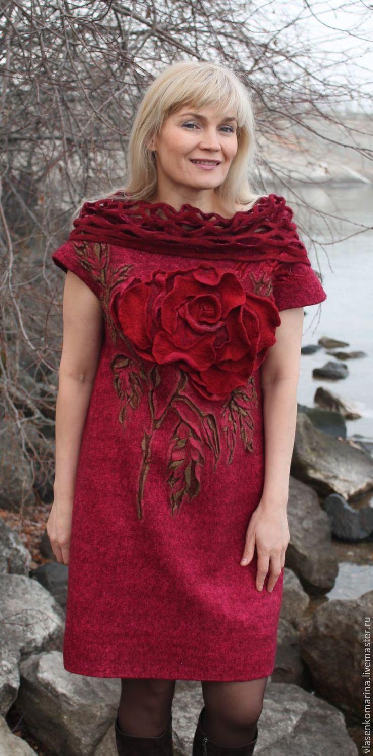 Купить Платье валяное Примадонна - бордовый, платье валяное, нарядное платье, шерстяное платье