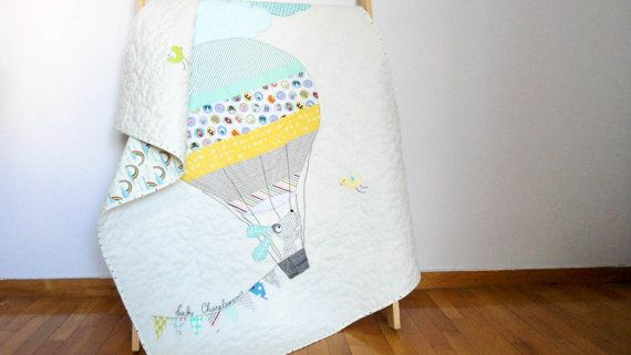 Modern patchwork baby quilt, the dog in the hot air balloon, crib quilt, wall hanging, nursery decor,nursery bedding, Made to order