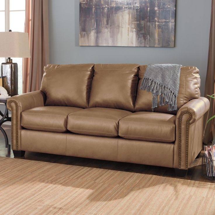 Leather Sectional Sofa Lottie DuraBlend Transitional Bonded Leather Match Full Sofa Sleeper with Memory Foam Mattress by Signature Design by Ashley at Prime Brothers Furniture