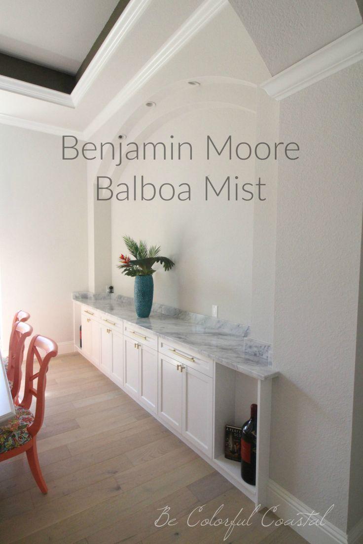 One Fabulous Shade Of Gray Benjamin Moore Balboa Mist Wall Color With Marble Buffet Benjamin