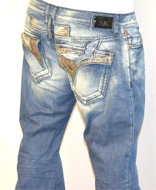 www.hiphopcloset.com - Robin's Jeans Long Flap Blue Yellow Crystals Jeans