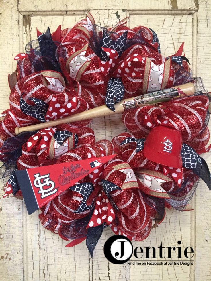 St. Louis Cardinals Baseball Deco Mesh Wreath, Cardinals Front Door Wreath, STL Wreath by JentrieDesigns on Etsy https://www.etsy.com/listing/385111682/st-louis-cardinals-baseball-deco-mesh