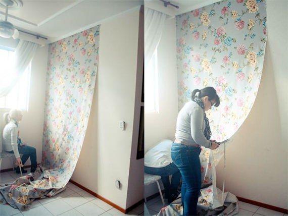 Tecido na parede, mais barato que papel de parede mas não quer dizer que não tem o mesmo charme!