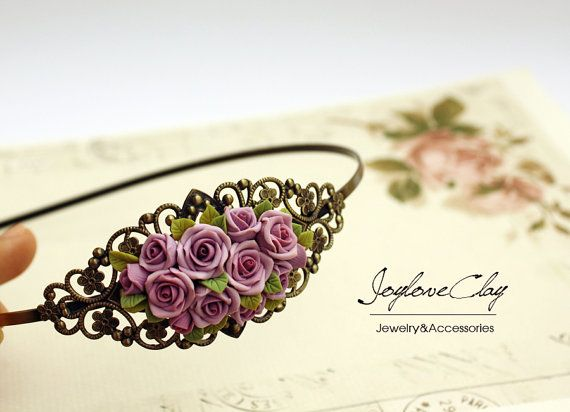 pink polymer clay rose hair stick hair accessories by Joyloveclay, $32.00