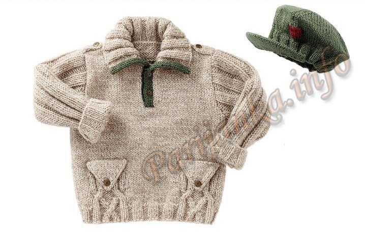 Пуловер и фуражка . Без схем