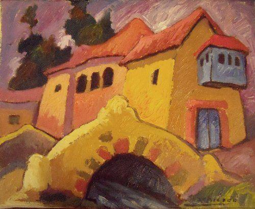 """""""Puente Colonial"""" by Peruvian painter Juan de la Cruz Machicado available at Columbine Gallery on Amazon Fine Art"""