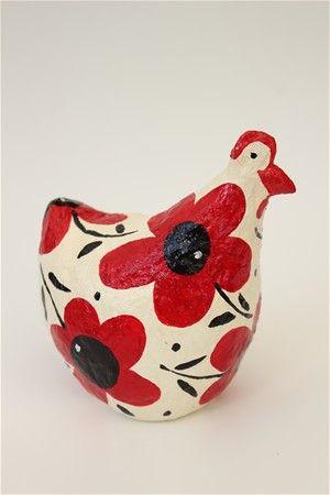 תרנגולת פרחונית מעיסת נייר