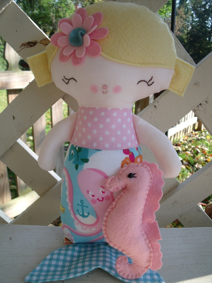 A custom made little mermaid doll and her pet seahorse for a special birthday girl.