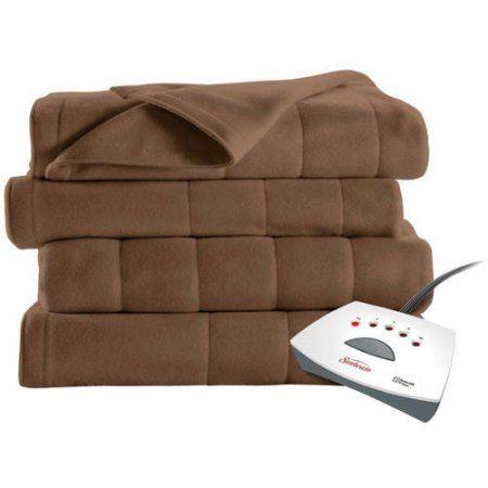 Sunbeam Electric Heated Fleece Blanket, Brown