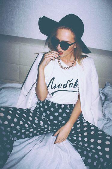 "Qooqoo ""Love"" T Shirt, H&M Black Hat, H&M White Blazer, H&M Polka Dot Wide Pants, Bik Bok Black Sunglasses - LOVE LOVE // - Agnija Grigule"