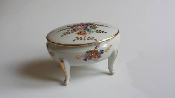 vintage ajco France trinket box with florals  vintage France
