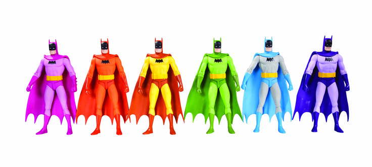 Brighten your batcave with Rainbow Batman figures - Why should the criminals of Gotham get all the colorful costumes? Now you can have the Caped Crusader in pink, orange, yellow, green, blue and purple.
