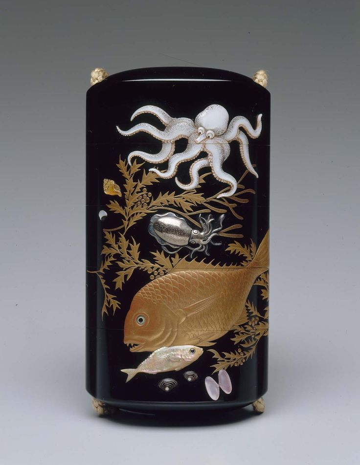 Four-case inro with sealife design Japanese, Edo Period, Early 19th century By Koma Kansai II, Japanese, 1767–1835 By Shibyama Soichi, Japanese (Front)