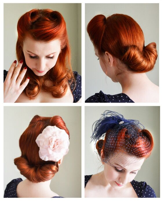 www.facebook.com/bettynoirphotography Vintage hairstyle victory rolls and a Gibson roll