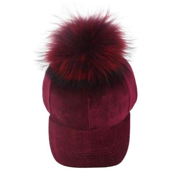 Ruby Velvet Fur Pom Hat ($30) ❤ liked on Polyvore featuring accessories, hats, ball cap hats, baseball cap hats, ball cap, pompom hat and fur hat