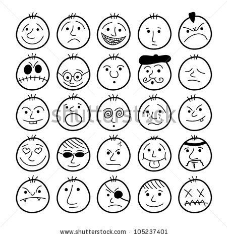 Set of hand-drawn funny cartoon faces.