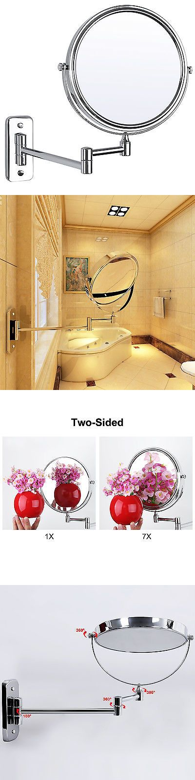 Makeup Mirrors: Two-Sided Magnifying Wall Mounted Swivel Make Up Shaving Mirror Extendable BUY IT NOW ONLY: $34.25