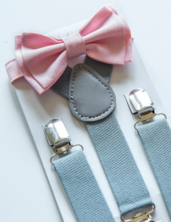 251d86082266 Suspenders and Bow Tie Set -- Gray / Grey Suspenders -- Blush Pink Bow Tie  -- Ring Bearer Outfit. SIZES - Baby to Boy   weddingg   Grey suspenders, ...