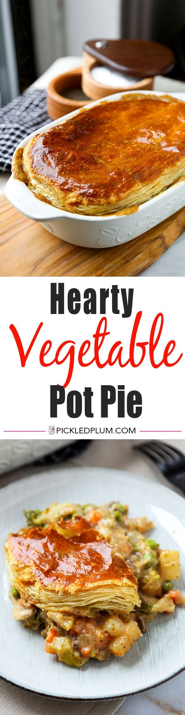 Hearty Vegetable Pot Pie - This hearty vegetable pot pie with creamy mushroom sauce and topped with puff pastry is guaranteed to keep you warm this winter! Recipe, pie, baking, vegetables, dinner, main | pickledplum.com