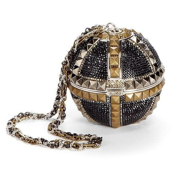 Judith Leiber Studded Sphere Miniaudiere (82.380 RUB) found on Polyvore featuring bags, handbags, clutches, jewelry, purses, accessories, multi, embellished handbags, judith leiber clutches and metallic purse