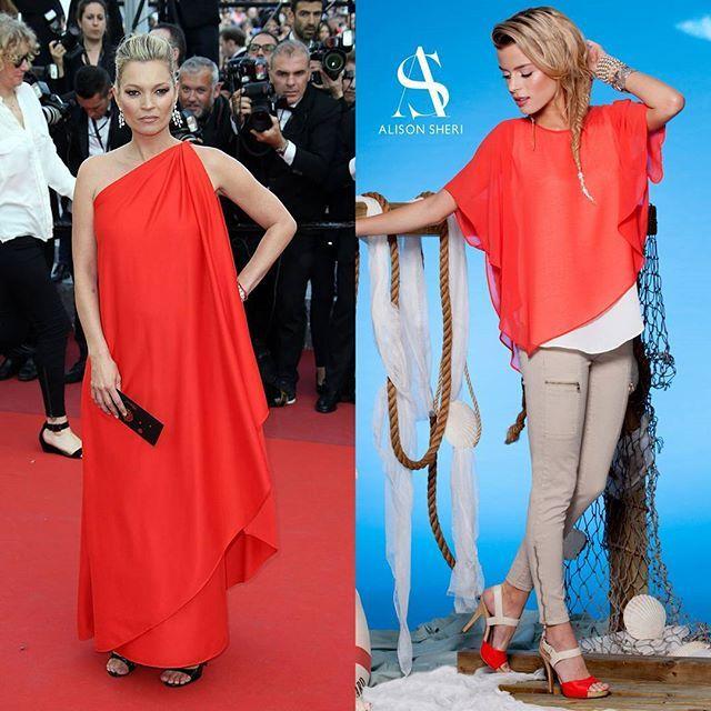 Kate Moss was seen at the Cannes festival in a great asymmetrical flowing dress. Although its too fancy for everyday wear you can easily get the look with our easy no fuss blouse.  #Cannes2016 #KateMoss #asymmetry #GetTheLook #StyleInspo — Kate Moss a été aperçu au Festival de Cannes en superbe robe asymétrique. C'est un peu trop chic pour porter au jour-le-jour, mais trouver un look similaire avec notre super blouse qui se porte sans-soucis!  #cannes2016 #KateMoss #asymétrique #LeLook…