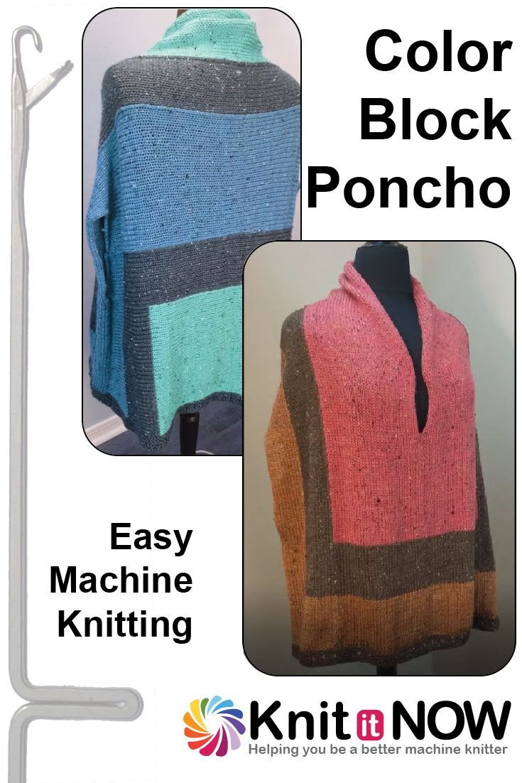 8 best machine knit poncho images on pinterest ponchos jacket easy color block poncho machine knitting pattern from knit it now bankloansurffo Choice Image